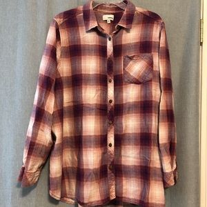 🔸Donated Plaid button down shirt, pink, purple